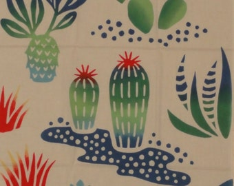 Cactus Fabric Japanese Tenugui 'Cactus and Critters' Desert Motif w/Free Shipping