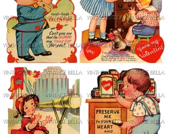 Vintage 1930s Children Valentine radio trumpet Digital Download 324 - by Vintage Bella