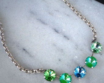 Austrian crystal ultra limeAB and peridot green 14mm rivoli chain necklace,brushed silver tone,pretty spring time colours,women's jewelry