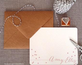 Custom Letterpress Note Cards - Set of 50 w/Kraft Envelopes - Confetti Design