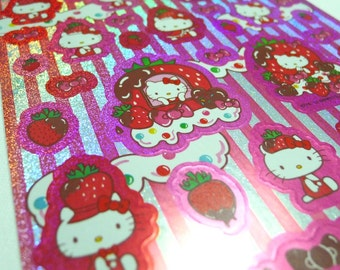 Kawaii Glitter Sanrio Hello Kitty Sticker Sheet (1234) - Strawberry Kingdom