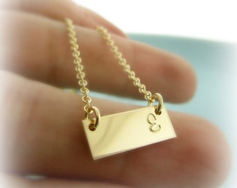 Tiny Gold Bar Necklace. Personalized Initial Bar Necklace. Gold Bar Initial Necklace. Mom Necklace