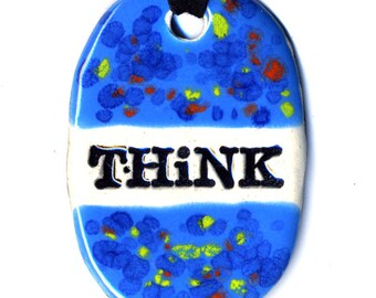 Think Ceramic Necklace in Spotted Blue