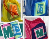 Larger Initial Pouch ONE Letter upcycled repurposed t shirt Custom Choose COLORS Easter Basket Bag