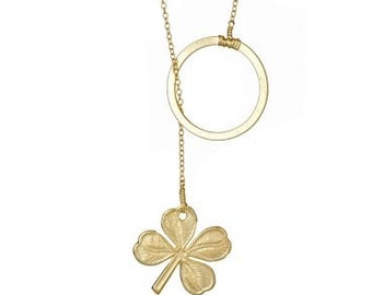 Lucky Clover Lariat- As seen on Good Morning America. lucky, Irish, Ireland, gold, necklace, on sale.