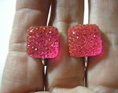 """Play Earring - Clip - Square Jewel - Pink - 1/2"""""""