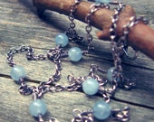 Aquamarine sterling silver layering necklace