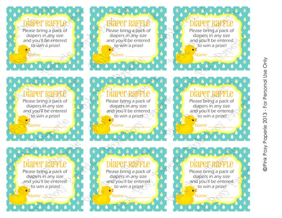Printable Rubber Ducky Gender Neutral Baby Shower Diaper Raffle ...