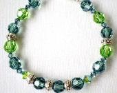 Bracelet Swarovski Crystals Peridot Erdite Dk Sapphire Sterling Bali Beads