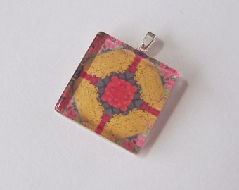 Glass Tile Pendant Necklace -  Kaleidoscope No. T-20