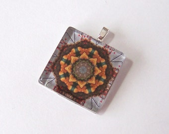 Glass Tile Pendant Necklace -  Kaleidoscope No. 39