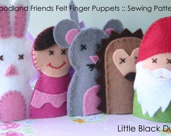 Pattern: Woodland Friends Felt Finger Puppets