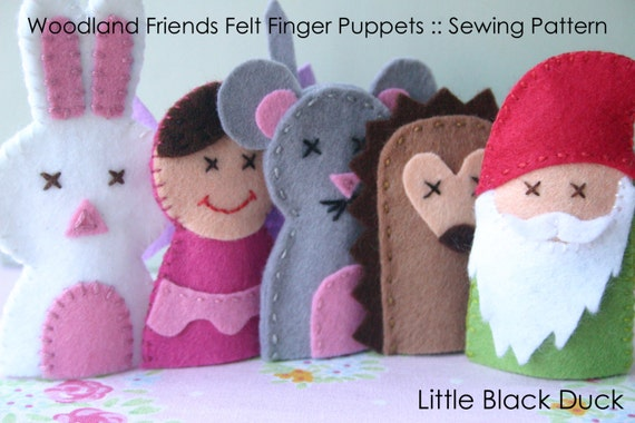 Pattern: Woodland Friends Felt Finger Puppets