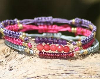 Spring Summer Gemmy Macrame Stacking Bracelets - Set of 3