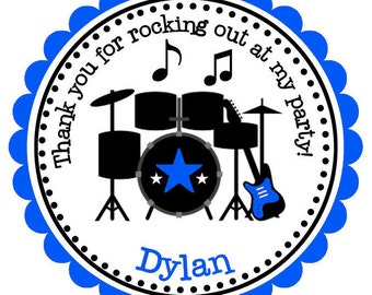 Rockstar Personalized Stickers, Address Labels, Hang Tags, Gift Tags, Party Favor - Set of 12