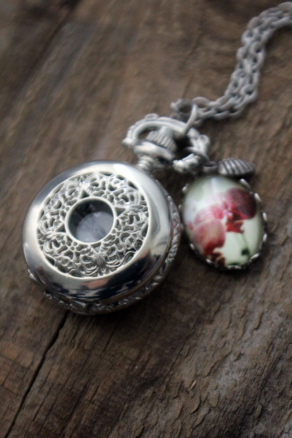 Clearance DISCONTINUED Silver Clock Necklace - Pink Orchid Polaroid Picture Pocket Watch Locket with Charms - Seduction