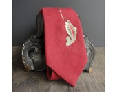 Fishing for Trout Tie - Vintage Tie - For Men - Red with Gold Details - Vintage Wool Tie - JustSmashingDarling