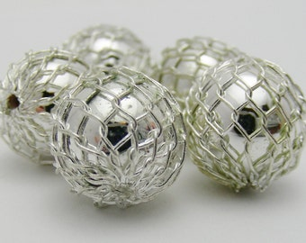 Silver Colored Mesh Covered Acrylic 10mm Round Beads-R