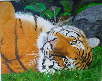 Baby Bengel Tiger Original Oil Painting Made to Order 8 x 10 by Pigatopia