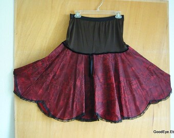 Vintage 50s EYE-FUL  Petticoat Nylon Lace Red Black Small Medium USA Crinoline Slip Drop Waist