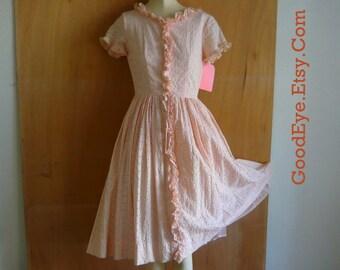 Vintage 50s EYELET Petticoat Dress XS Petite size 0 2 SEMITTEEN Sherbert Orange Full Skirt