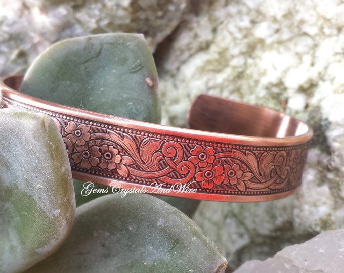 Ladies Copper Bracelet, Copper, Floral Bracelet, Handmade gift, Gift For her