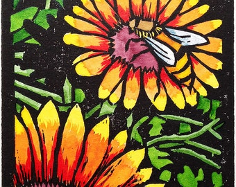 Bumble Bee (hand colored woodcut)