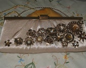 Upscaled Vintage Clutch Purse Shoulder Bag with Vintage Jewelry