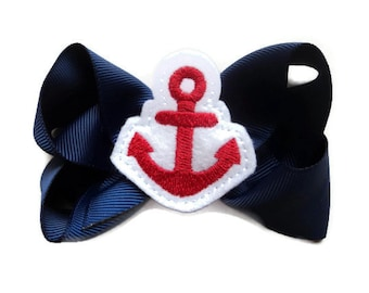 SUMMER IDEAS Hair Bows for Girls EVERYDAY Funky Hair Bow - red Anchor Navy Blue (perfect for newborn, infant, toddler, girl) Medium hairbow