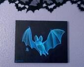 Glow-in-the-Dark Blue Ghost Bat Painting - Fledermaus - Feeping Creatures monster art