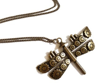 Steampunk  Dragonfly necklace - Mechanical Dragonfly Victorian antique brass goth gothic