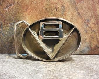 V8 Belt Buckle in White or Gold Bronze