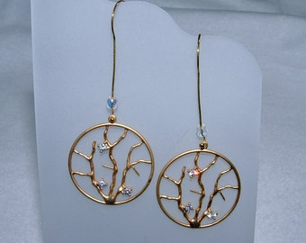 Handmade gold over Rhodium Branches Earrings