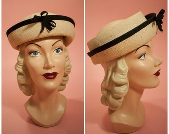 1930s 1940s Womens Panama Hat Open Crown Straw Topper