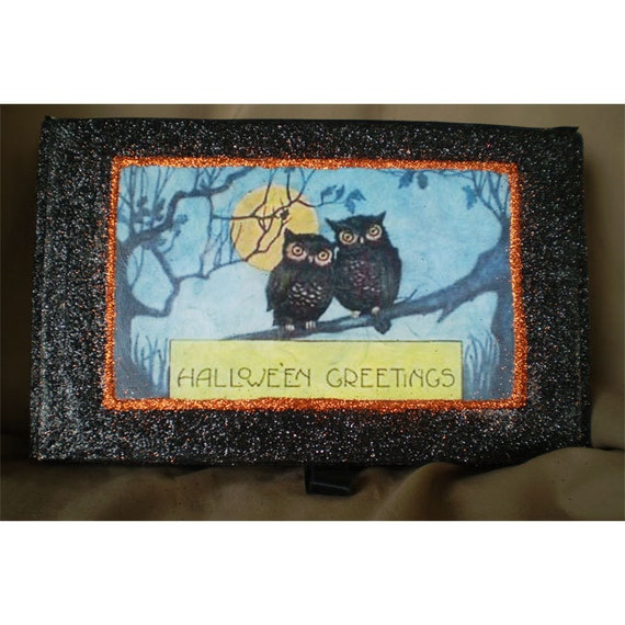 Owl decoupage retro box vintage style old fashioned Halloween decoration collectible Halloween Artist Bazaar