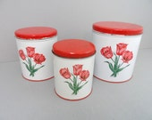 Red Tulips Tin Decoware Canister Set