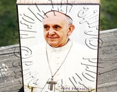 ATC ACEO Wooden Block Shelf Sitter Wall Hanging Handmade Decoration Pope Francis Design 2 Collage Mixed Media Art
