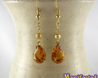 Amber Crystal Earring gold tone Princess Venus Sailor Moon Cosplay