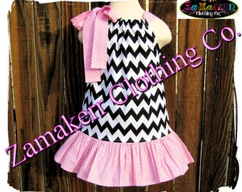 Custom Boutique Chevron Girl Pillowcase Dress Pillow Case Dresses Infant Baby Clothing Gift Size 3 6 9 12 18 24 month Size 2T 3T 4T 5T 6 7 8