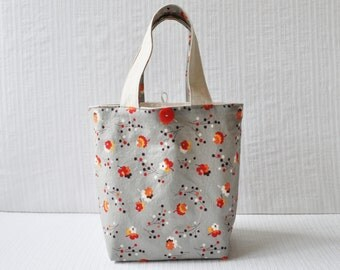 Posie in Gray Gift Bag - Medium Cotton Tote in Gray Red and Orange
