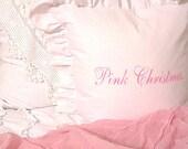 Made To Order White Linen Blend Pink Christmas Ruffle Pillow SLIP COVER