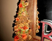 Autumn Themed Fabric Rag Tree With Rusty Bells & Dried Flora FAAP OFG
