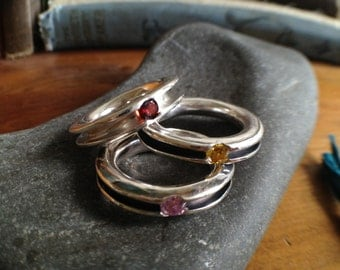 Sterling Silve Inside Out Ring with 4mm Gem Stone of your choice - Custom sizing