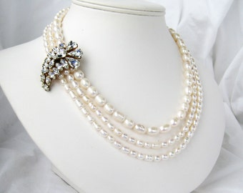 Rhinestone Paisley Necklace, 3 Strand Freshwater Pearl Bridal Necklace, Gold Necklace, Asymmetrical Wedding Necklace, Handmade, Paisley