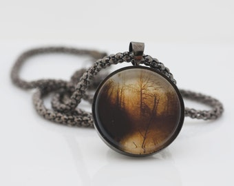 Sunset Necklace, Gunmetal Black, Fine Art Print, Photo Jewelry