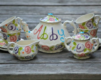 Colorful  Flowers Tea set --   Personalized Little Girl's Tea Set  Handpainted. . .