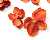Silk Flowers - 10 Mini Orchids in Rustic Orange 1.5 inch size - Artificial Flowers- Millinery Craft