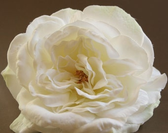 Large White Sophia Rose with Lime Accents - Artificial Flower, Silk Flower Heads - ITEM 0487