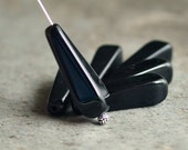 Jet Black Czech Glass Bead 27x10mm Squared Teardrop : 6 pc