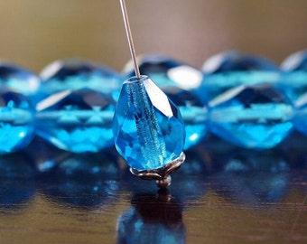 Aqua Czech Glass Bead Faceted 13x10mm Teardrop - 6 pc